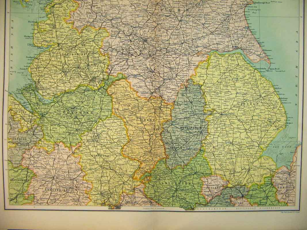 Print Colour Map England Wales Lincoln Cheshire Leeds Irish 735B339 Old Original