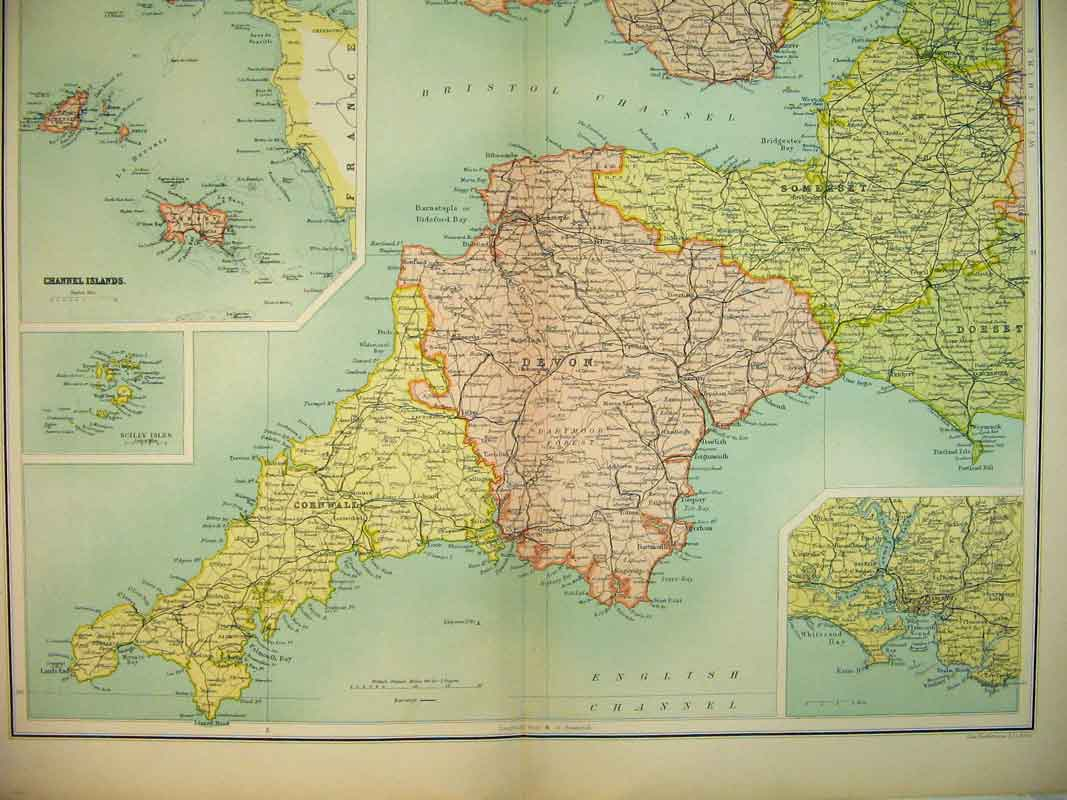 Print Map England Wales Channel Islands Plymouth Scilly Isles 737B339 Old Original