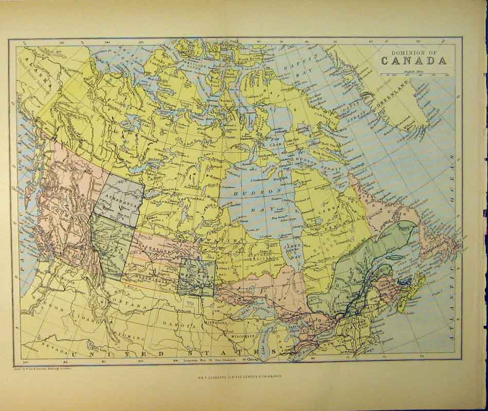 Print 1895 Map Dominion Canada Newfoundland Prince Edward 345B340 Old Original