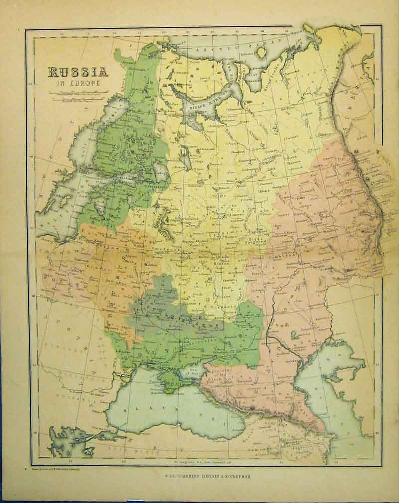 Print Colour Map Russia Europe Black Sea Caspian Baltic 201B341 Old Original