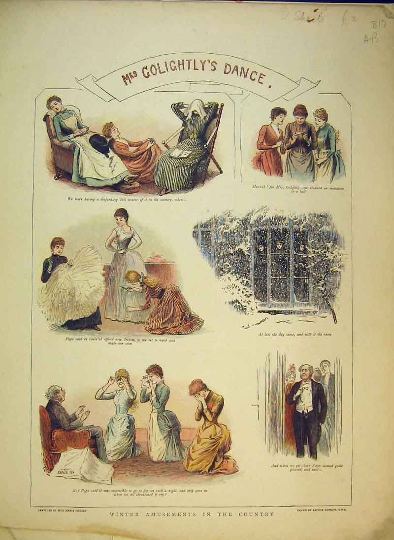 Print 1889 Winter Amusements Country Dancing Romance Colour 817B344 Old Original