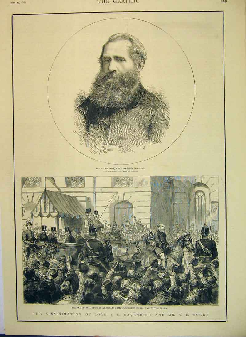 Print 1882 Assassination Lord Cavendish Burke Viceregal Lodge 826B344 Old Original