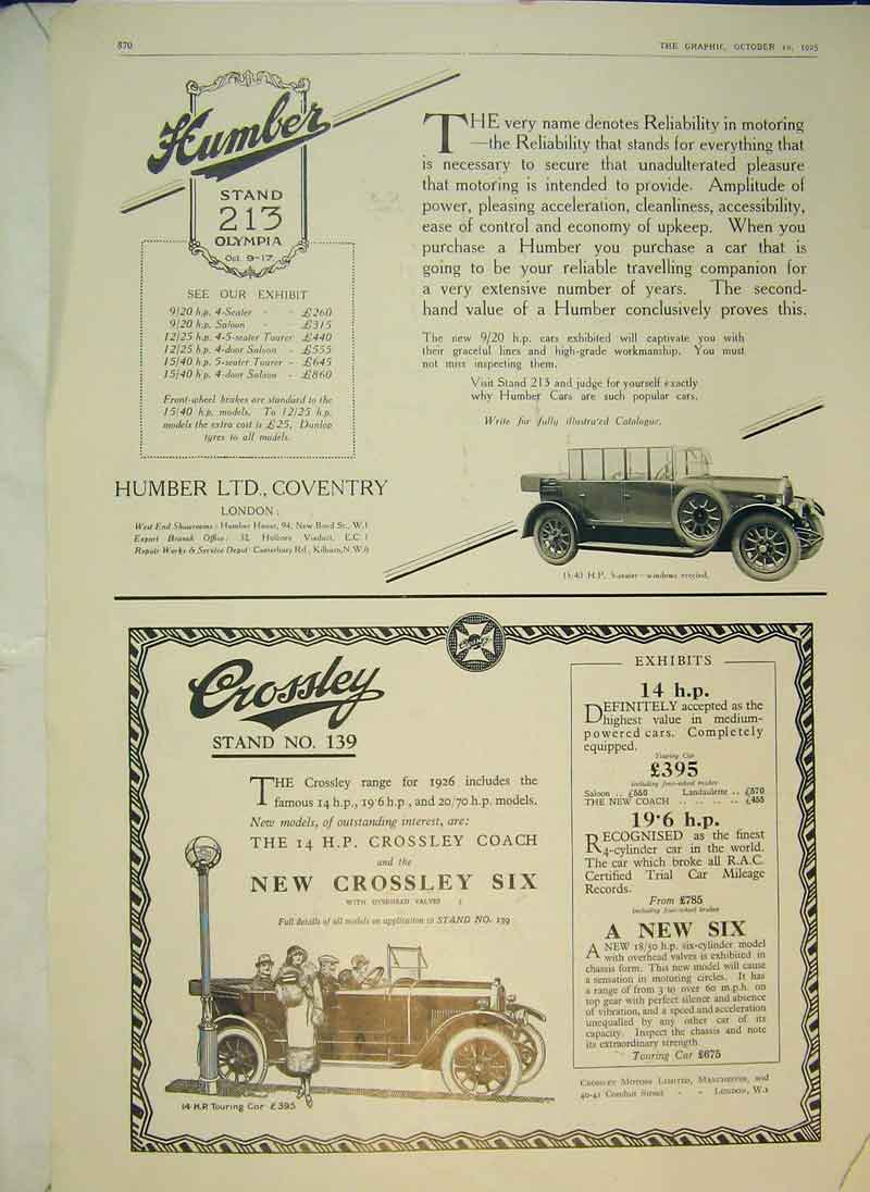 Print 1925 Advert English Star Cars Humber Crossley Coach 838B344 Old Original