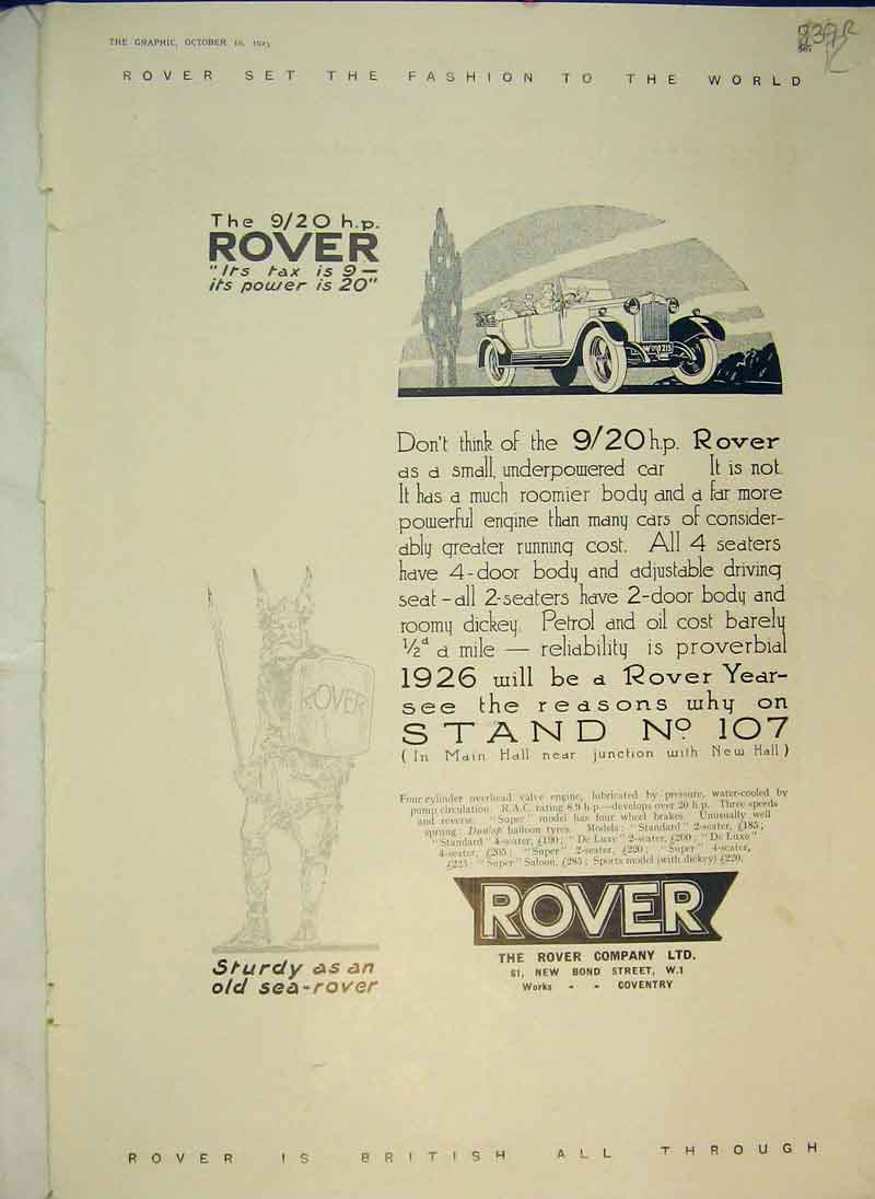 Print 1925 Advert Rover Car Britanni Watch Swift Engine Dion 839B344 Old Original