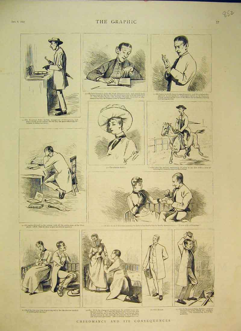 Print 1887 Chiromancy Man Woman Romance Horse 852B344 Old Original