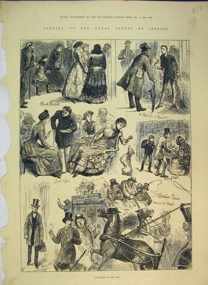 Print 1882 Opening Royal Courts Justice Horse Coach 853B344 Old Original