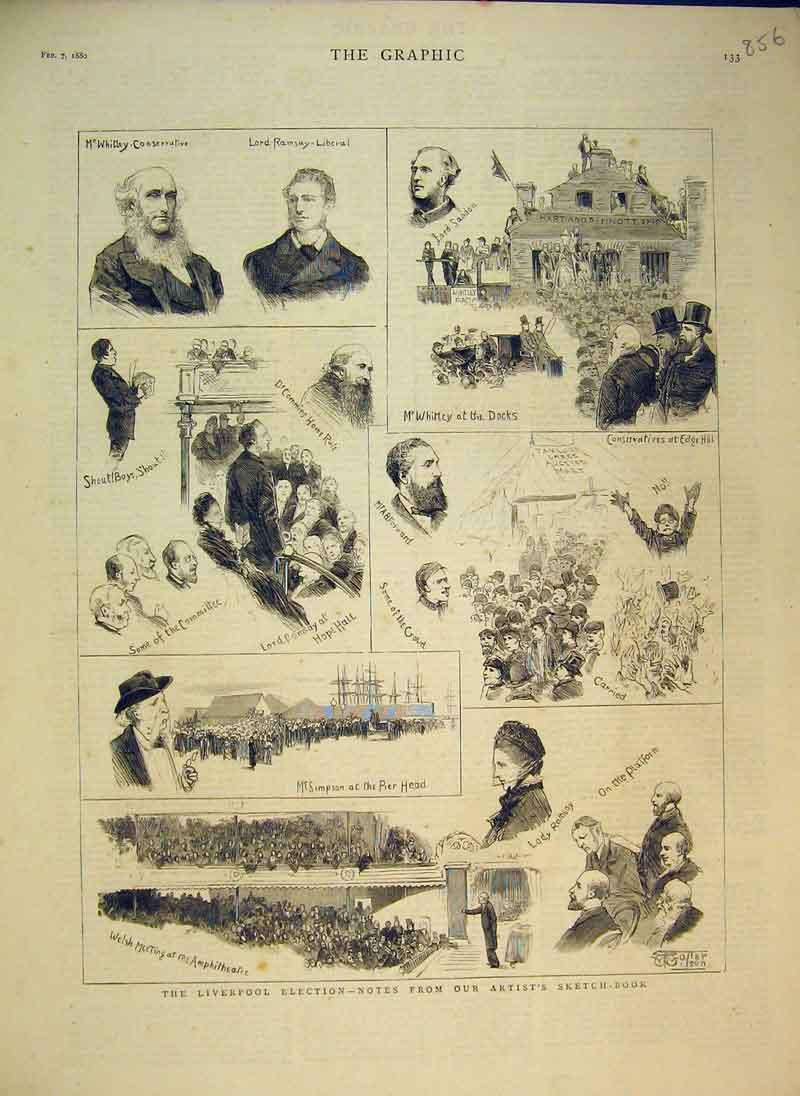 Print 1880 Liverpool Elections Simpson Ramsay Edge Hill 856B344 Old Original