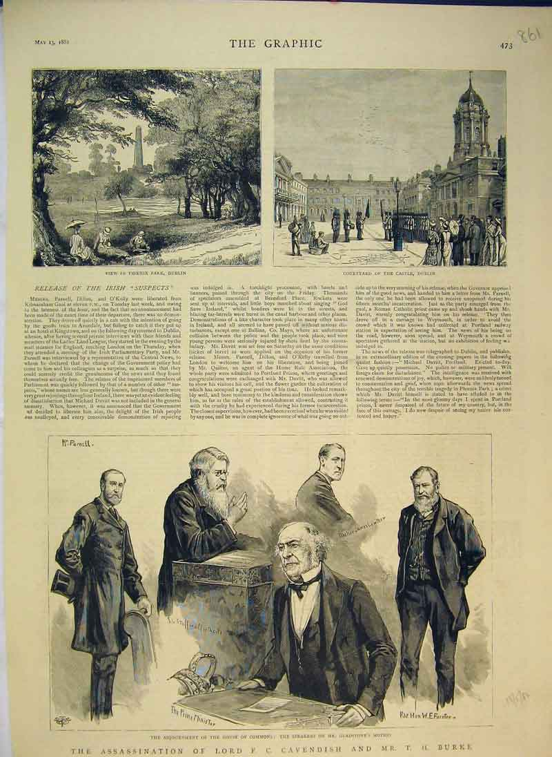 Print 1882 Assassination Lord Cavendish Burke Gladstone 861B344 Old Original