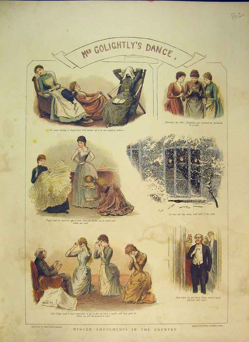 Print 1889 Gologhtly Dance Amusements Country Party Women 862B344 Old Original