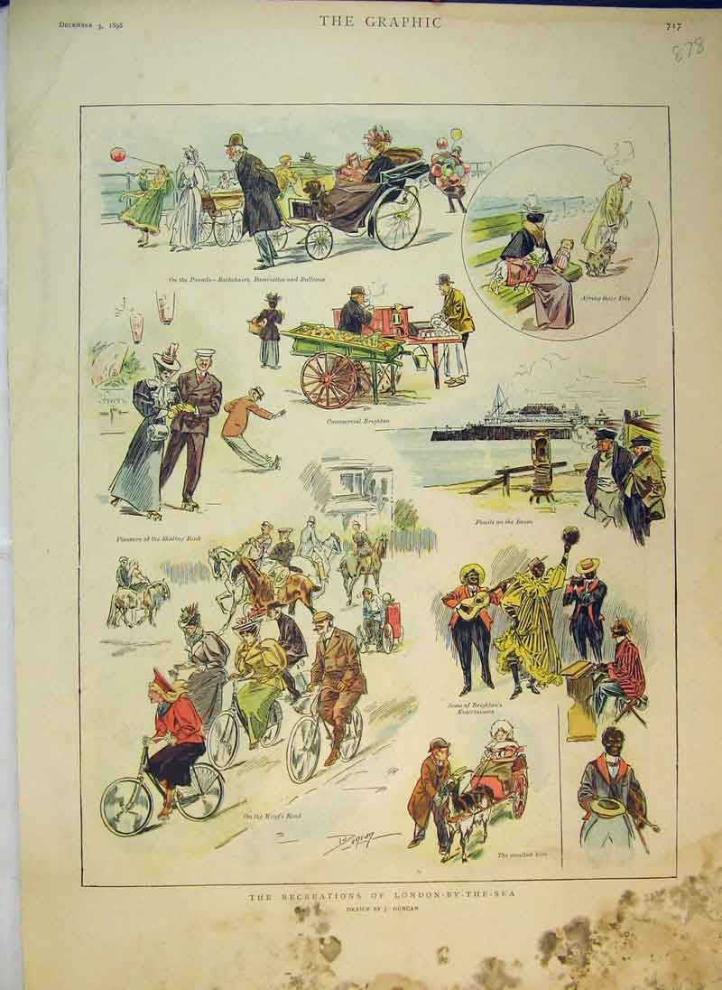 Print Recreations London Sea 1898 Bicycles Market Stall 878B344 Old Original