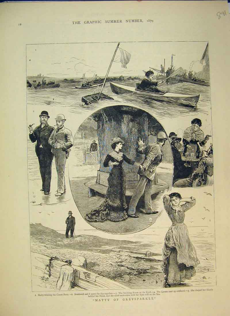 Print 1879 Matty Greysparkle Romance Sea Boat 881B344 Old Original