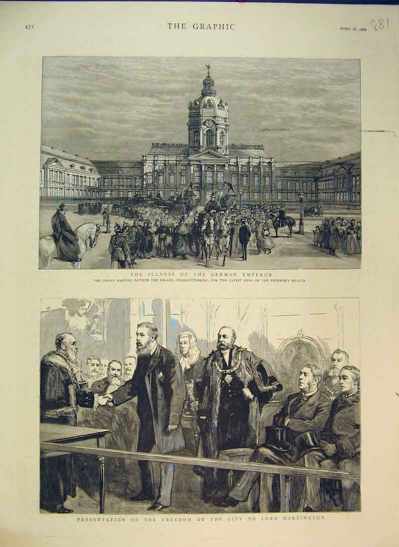 Print 1888 Palace Charlottenburg German Emperor Hartington 881Ab344 Old Original