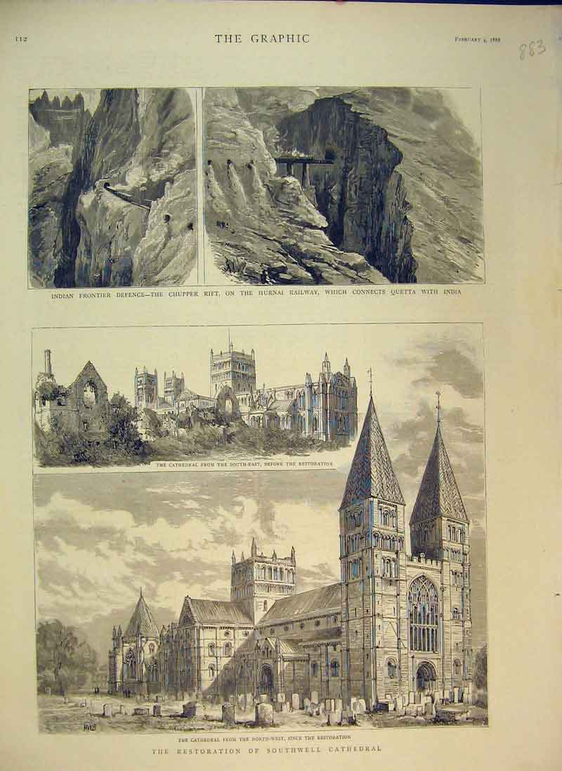 Print Restoration Southwell Cathedral 1888 Hurnai Railway 883B344 Old Original