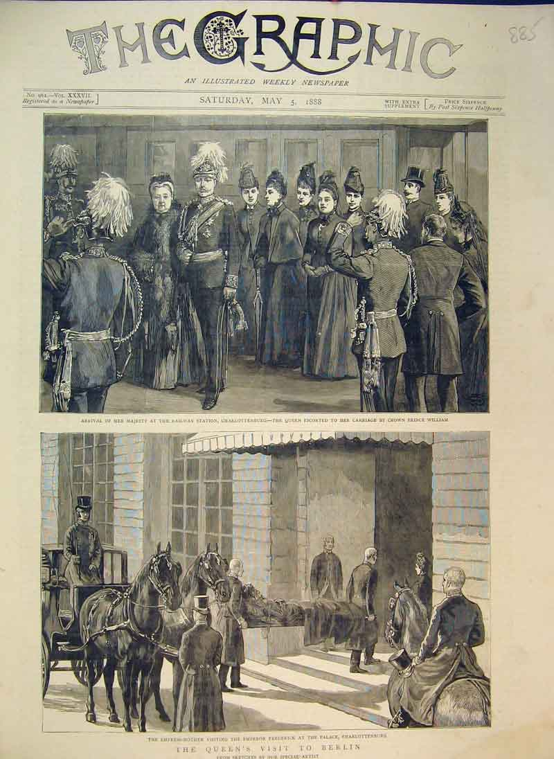 Print 1888 Queen Visit Berlin Railway Station Frederick Horse 885B344 Old Original