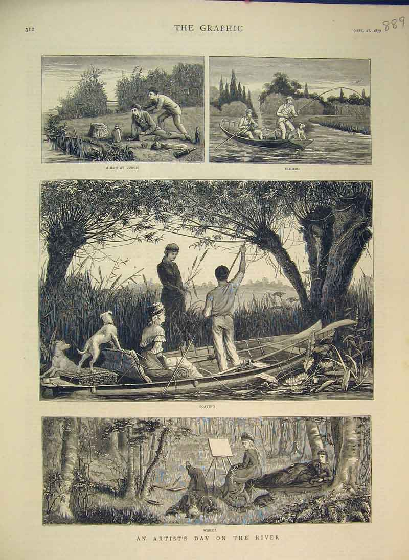 Print 1879 Artist Day River Boat Lunch Fishing Country Scene 889B344 Old Original