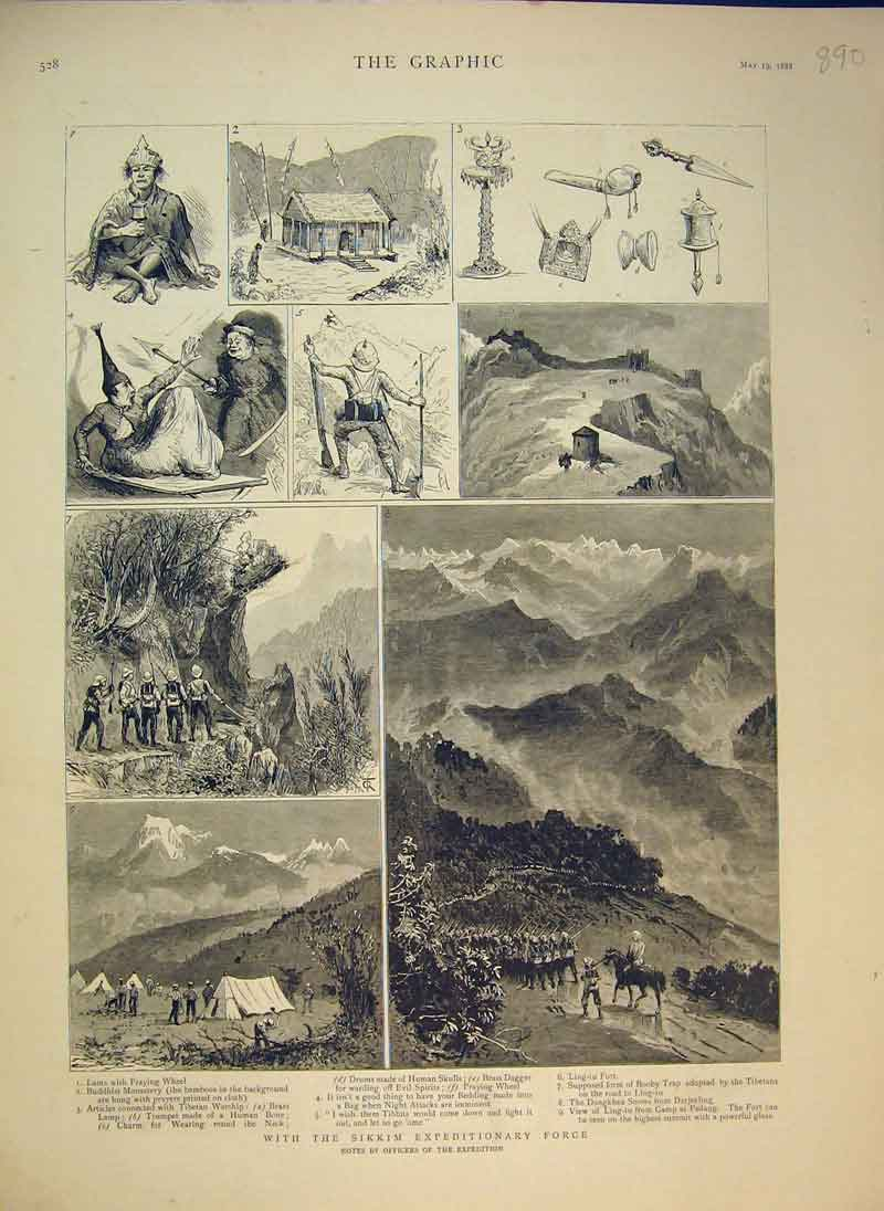 Print 1888 Sikkim Expeditionary Force Lama Camp Pedang Fort 890B344 Old Original