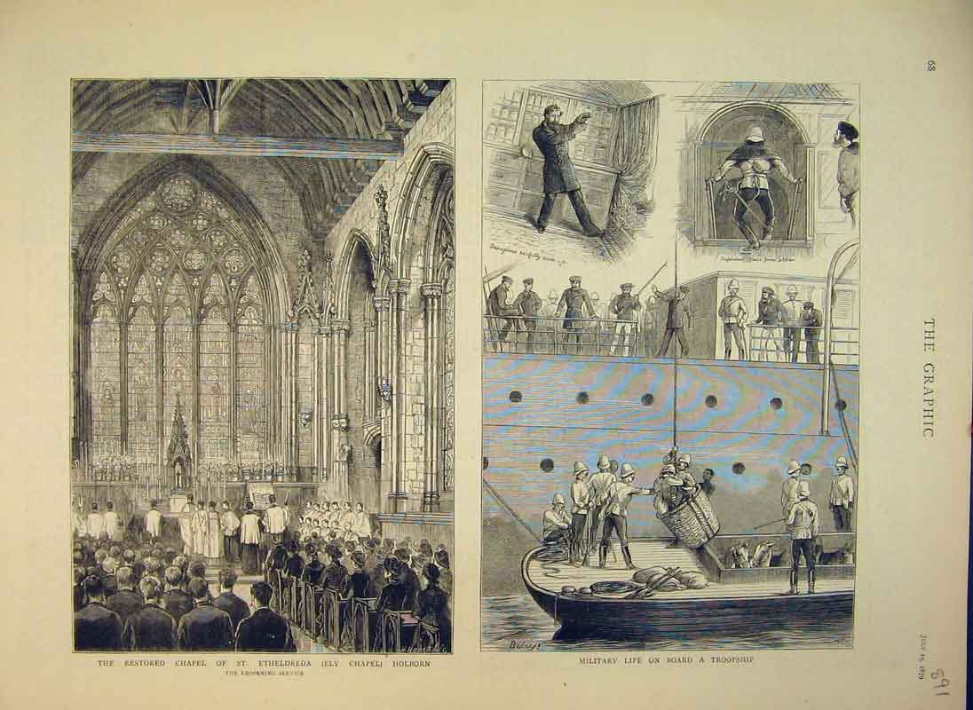 Print Chapel Etheldreda Ely Holborn 1879 Military Troopship 891B344 Old Original