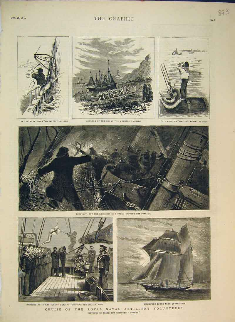 Print Cruise Royal Naval Artillery Volunteers Hornet Ship1879 893B344 Old Original