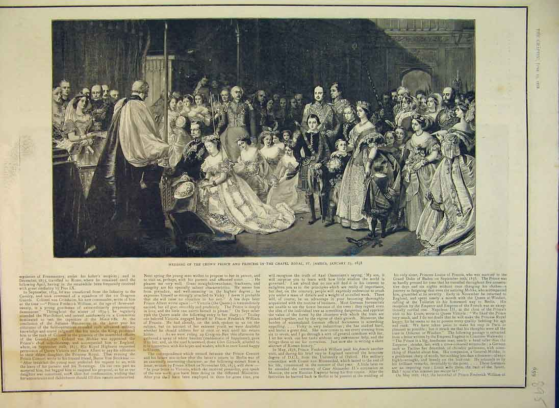 Print 1888 Wedding Crown Prince Princess Chapel Royal James 895B344 Old Original