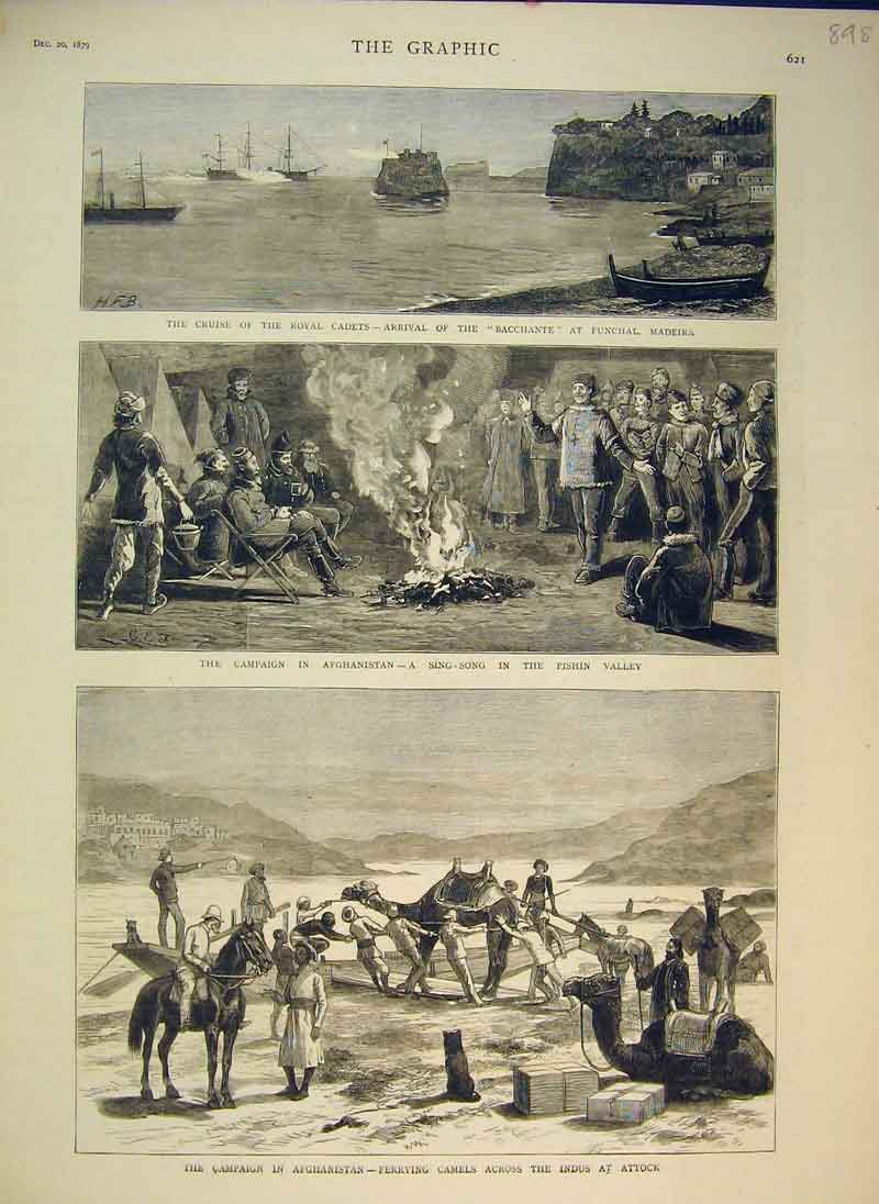 Print 1879 Campaign Afghanistan Camels Indus Attock Ship 898B344 Old Original