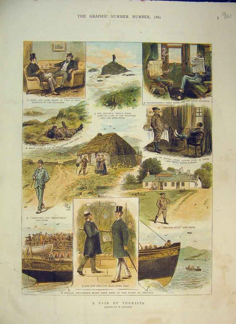 Print 1882 Colour Tourists Ship Country House Sea Rock 901B344 Old Original