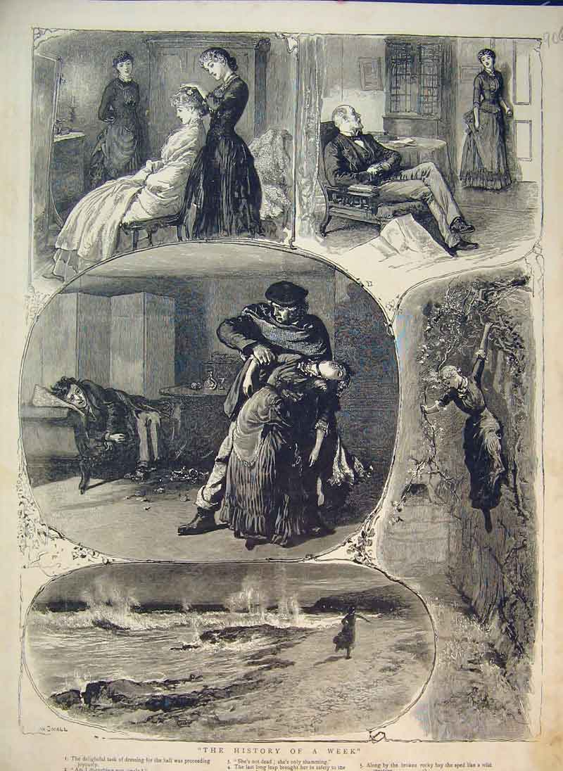 Print Christmas Tragedy 1885 Men Women Sea Scene Climbing 906B344 Old Original