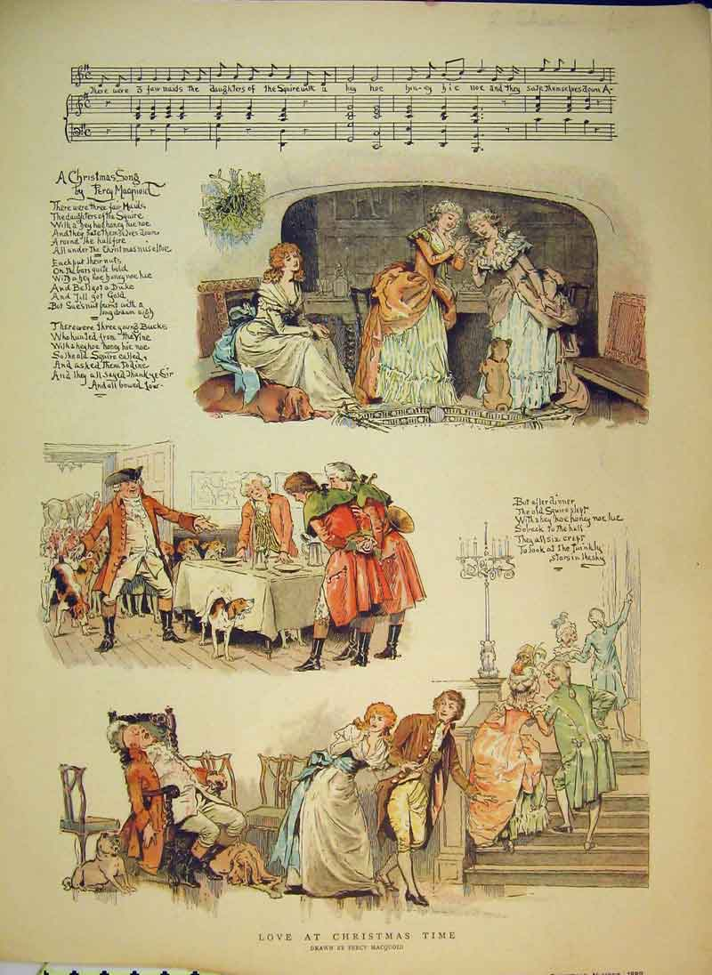 Print 1889 Christmas Time Party Dinner Horses Romance Music 912B344 Old Original