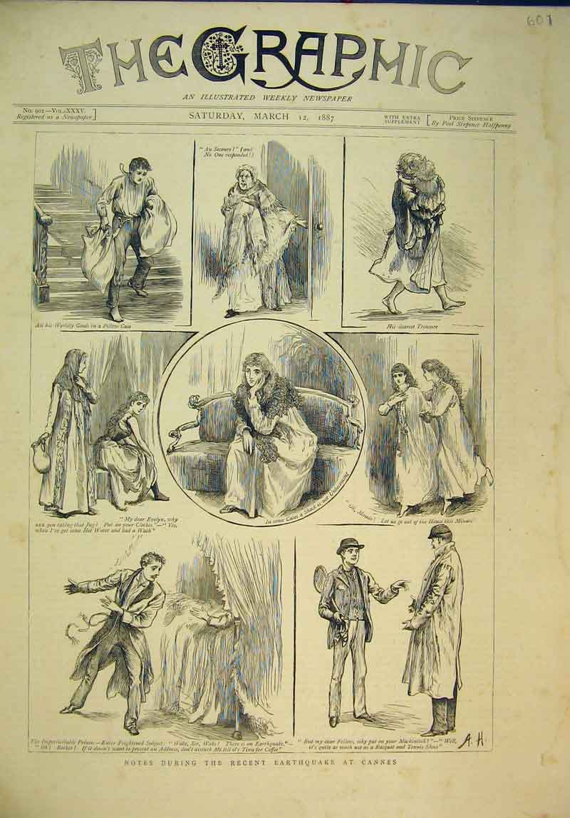 Print 1887 Scenes Homes Earthquakes Cannes France People 601B345 Old Original