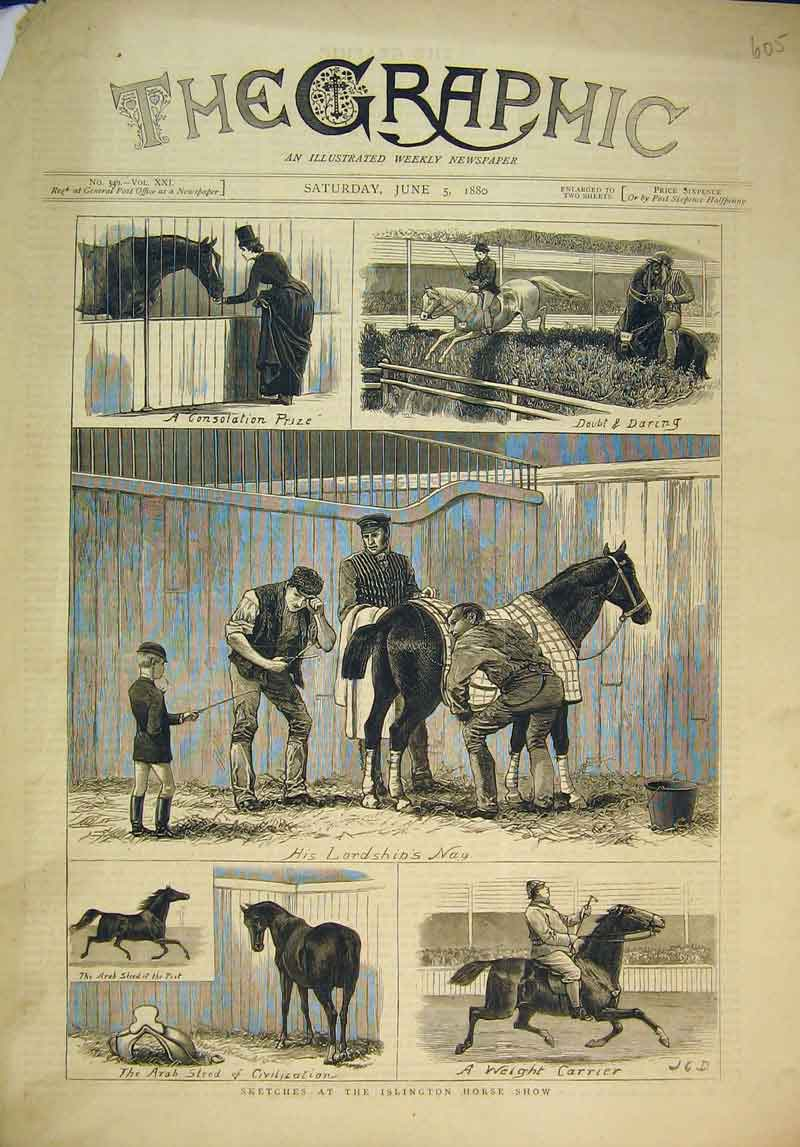 Print Sketches Islington Horse Show 1880 Stable Racing 605B345 Old Original