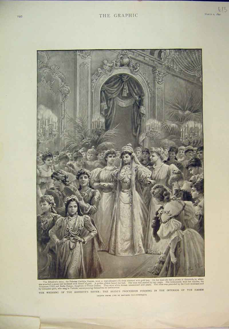 Print 1895 Wedding Khedive'S Sister Bride Procession Harem 613B345 Old Original