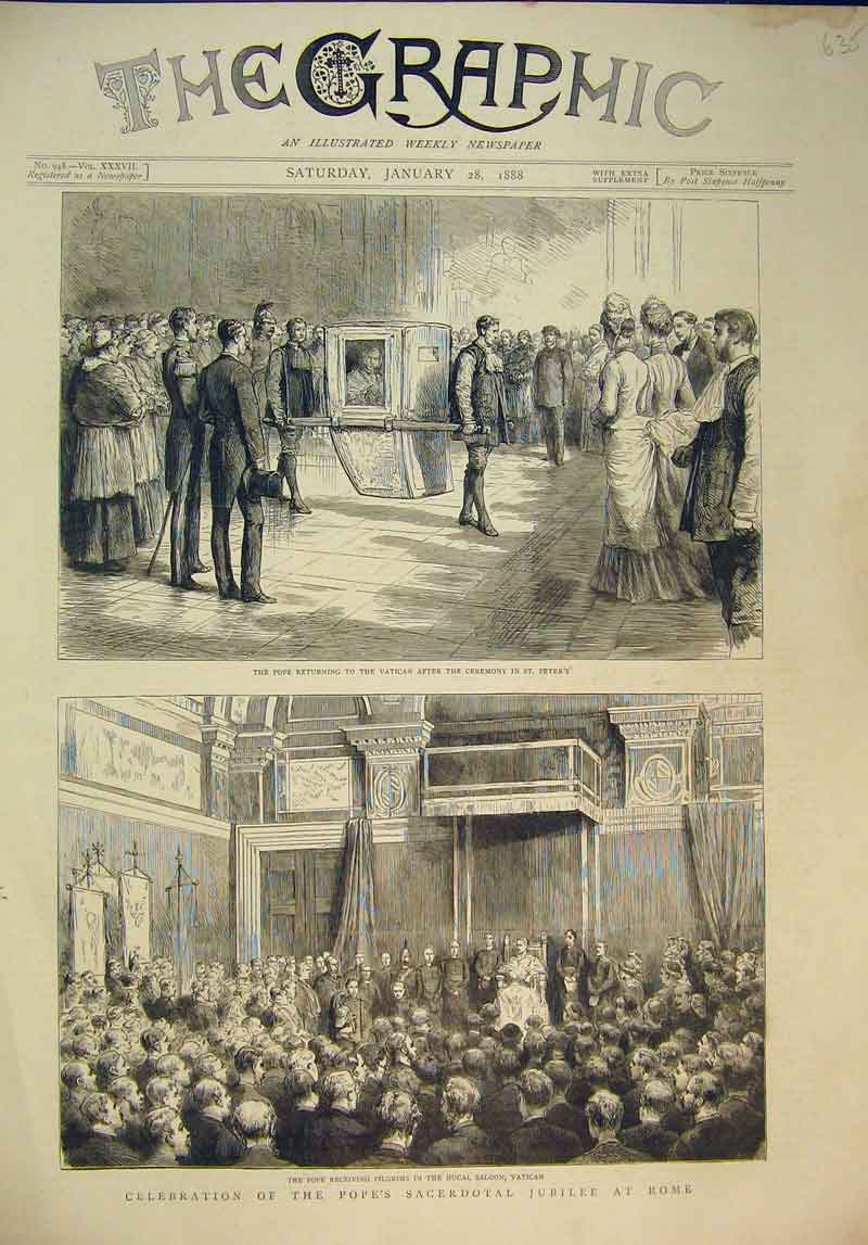 Print Celebration Pope Sacerdotal Jubille Rome 1888 Vatican 635B345 Old Original