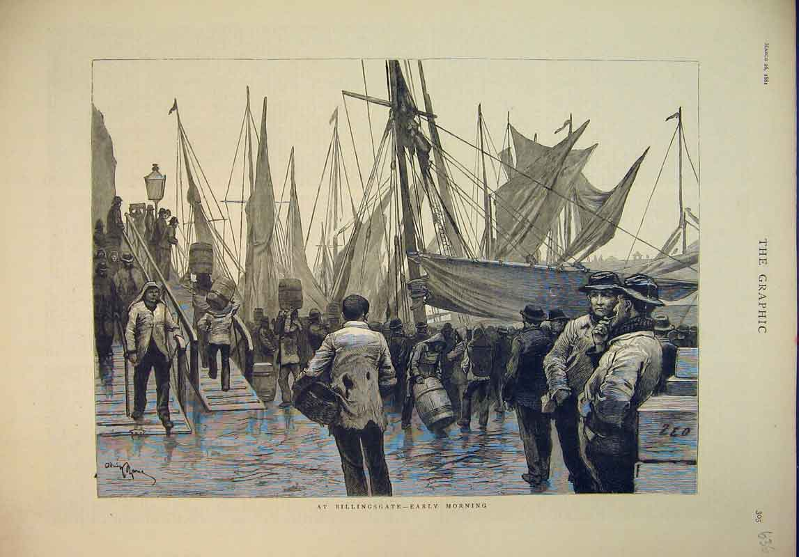Print 1881 Scene Billingsgate Fish Market Sailing Ship Men 636B345 Old Original