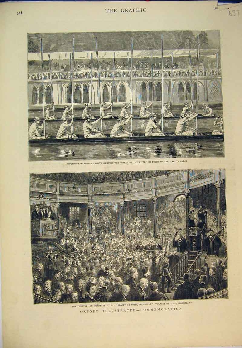Print 1882 Oxford Procession Boat Varsity Bridge Theatre 637B345 Old Original