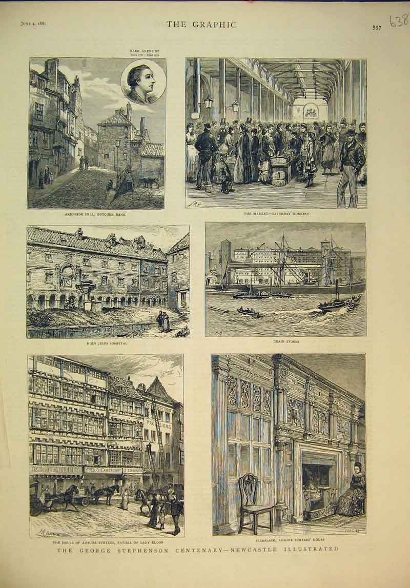 Print 1881 George Stephenson Newcastle Hospital Market Eldon 638B345 Old Original