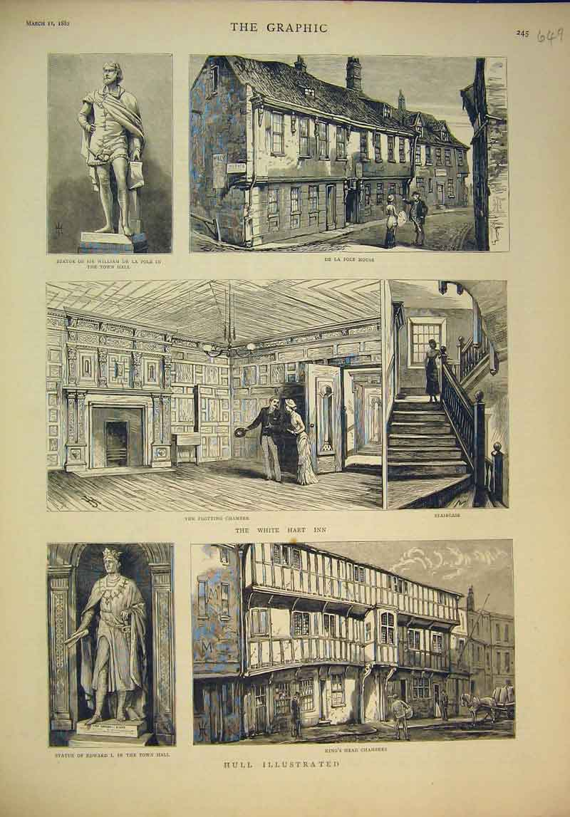 Print 1882 Hull Statue William Pole King Head Chambers Whie 649B345 Old Original