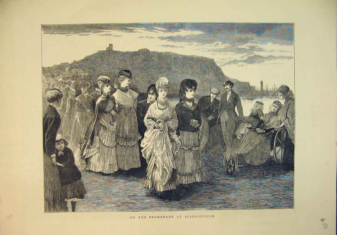 Print 1870 Families Day Out Promenade Scarborough England 650B345 Old Original