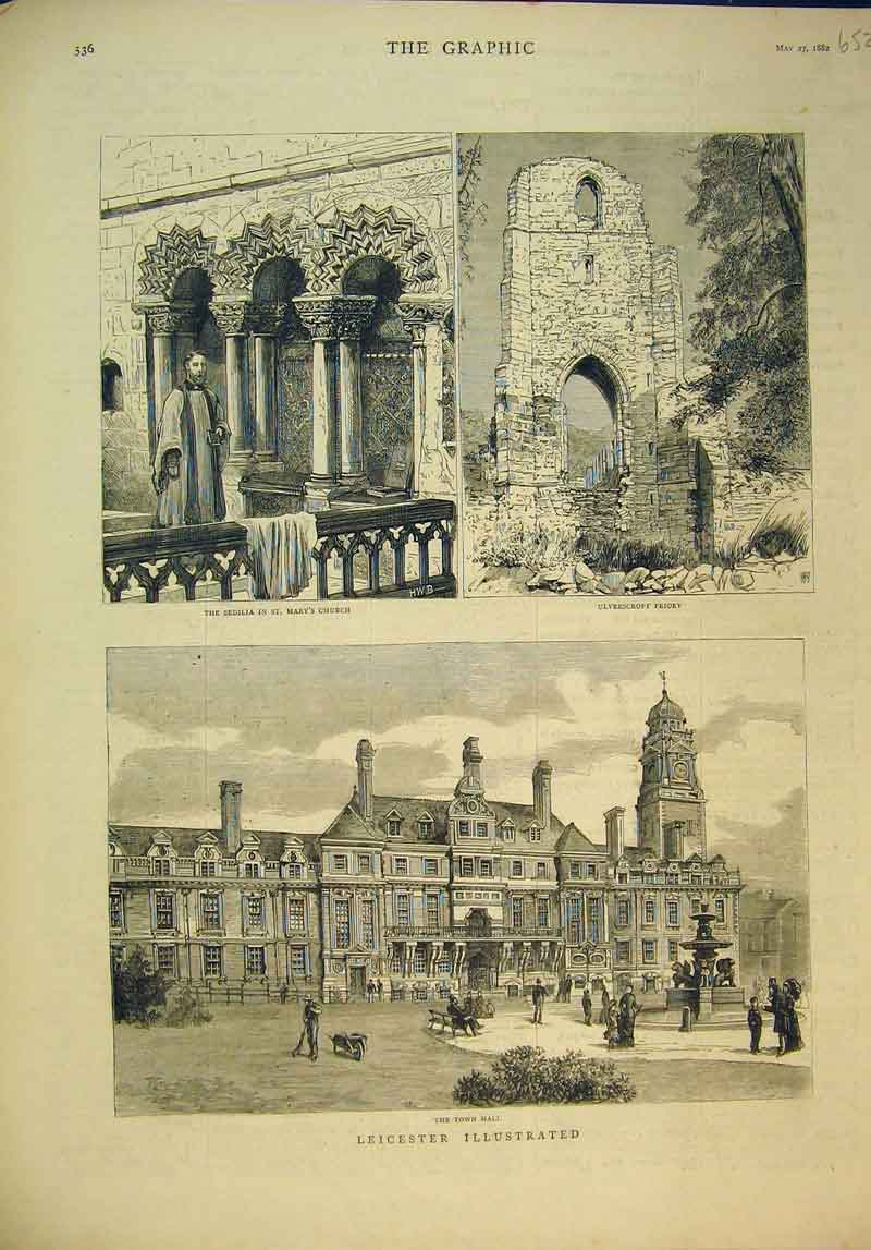 Print Leicester Town Hall Sedilia Mary'S Church 1882 Priory 652B345 Old Original