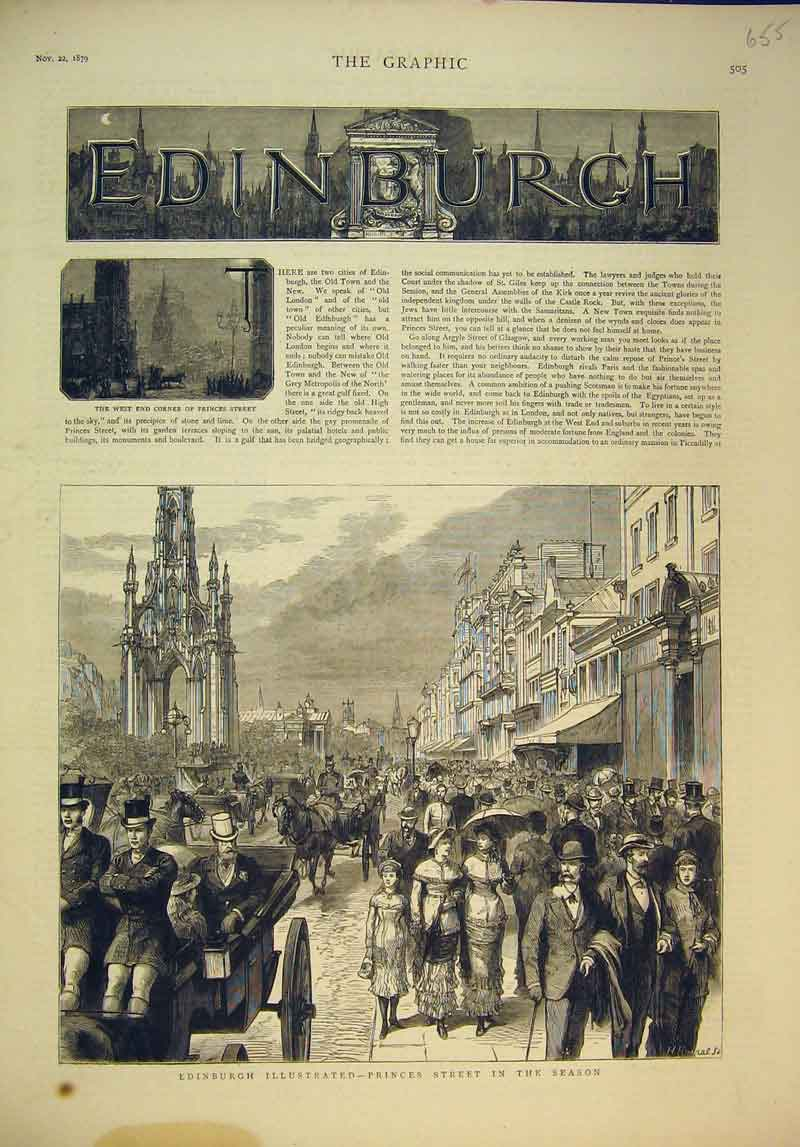 Print 1879 Edinburgh Princess Street Scene Horse Coach 655B345 Old Original