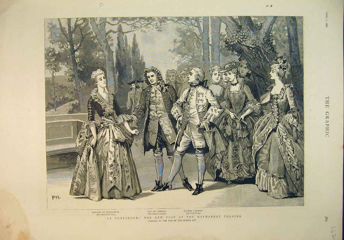 Print 1888 Scene La Pompadour New Play Haymarket Theatre 662B345 Old Original