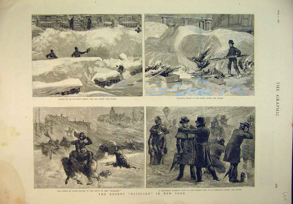 Print 1888 Scene Blizzard New York Snow Policeman 664B345 Old Original
