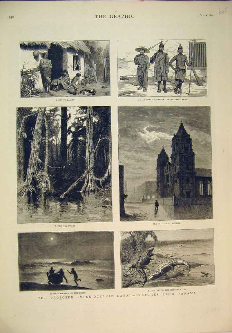 Print 1879 Panama Native Family Army Cathedral Swamp Turtle 665B345 Old Original