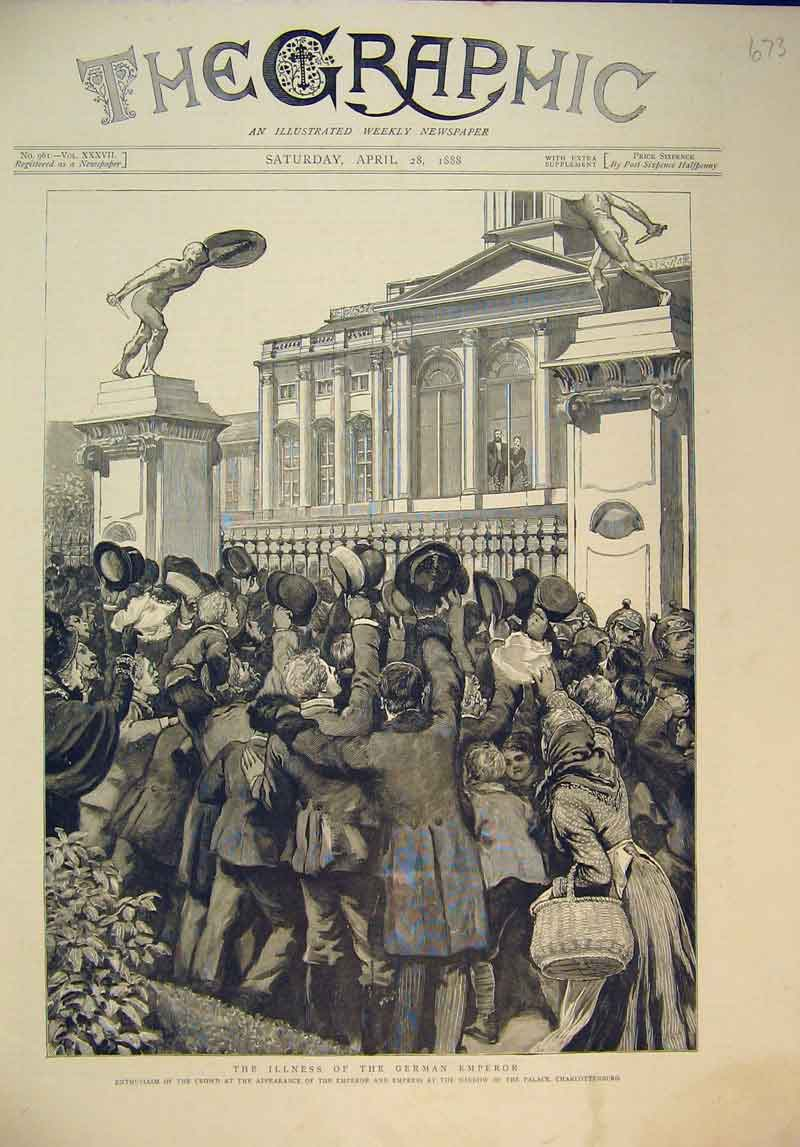 Print 1888 German Emperor Empress Crowds Palace Germany 673B345 Old Original
