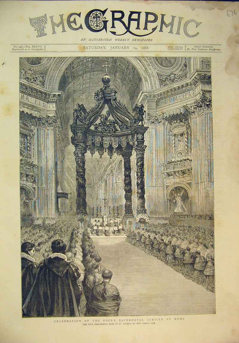 Print 1888 Celebration Pope'S Sacerdotal Jubilee Rome Peter'S 676B345 Old Original