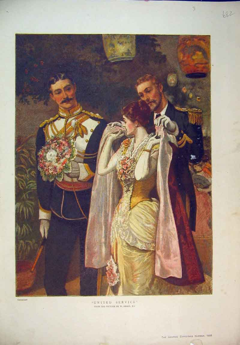 Print 1885 Colour Romance Man Woman Soldiers Uniform 682B345 Old Original