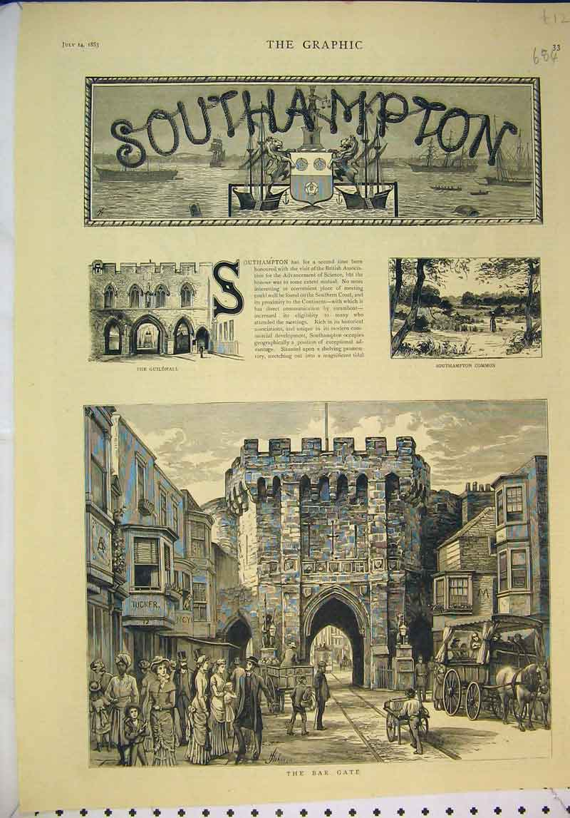 Print 1883 Scene Southampton Bar Gate Guildhall Country 684B345 Old Original