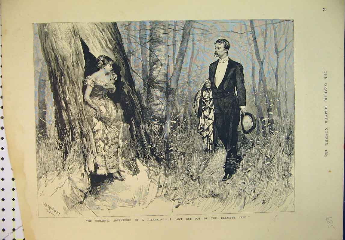 Print 1883 Romantic Adverntures Milkmaid Man Woman Country 685B345 Old Original