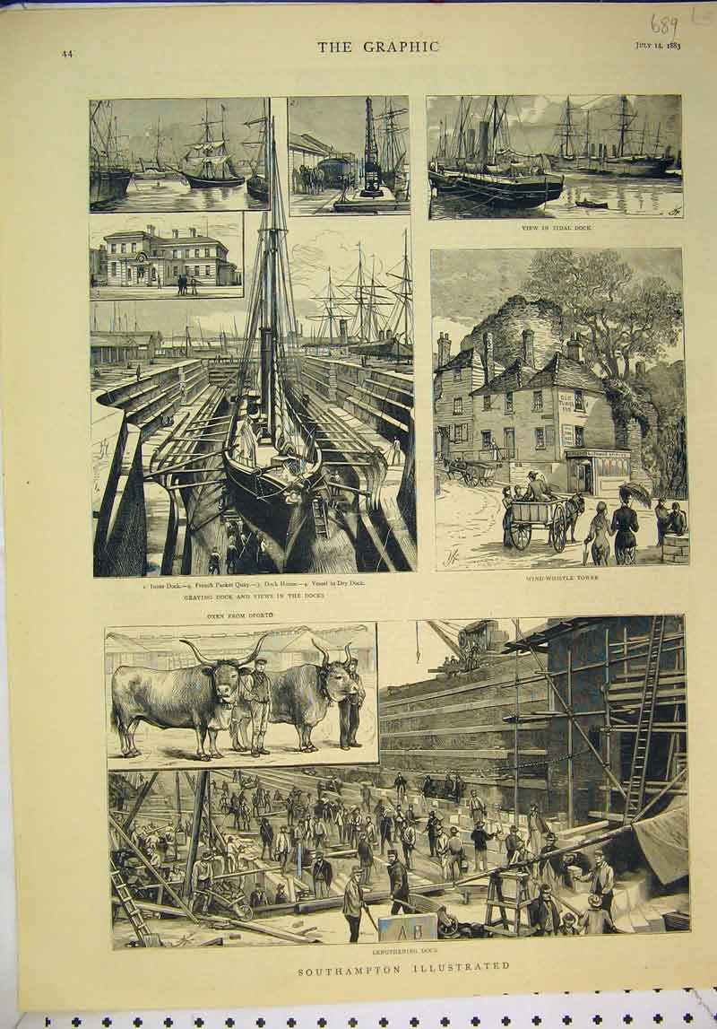 Print 1883 Southampton Dock Wind Whistle Tower Oxen Ships 689B345 Old Original