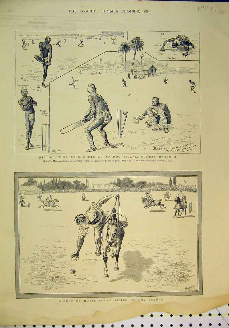 Print Hindoo Cricketers Hog Island Bombay Harbour 1883 Sport 690B345 Old Original