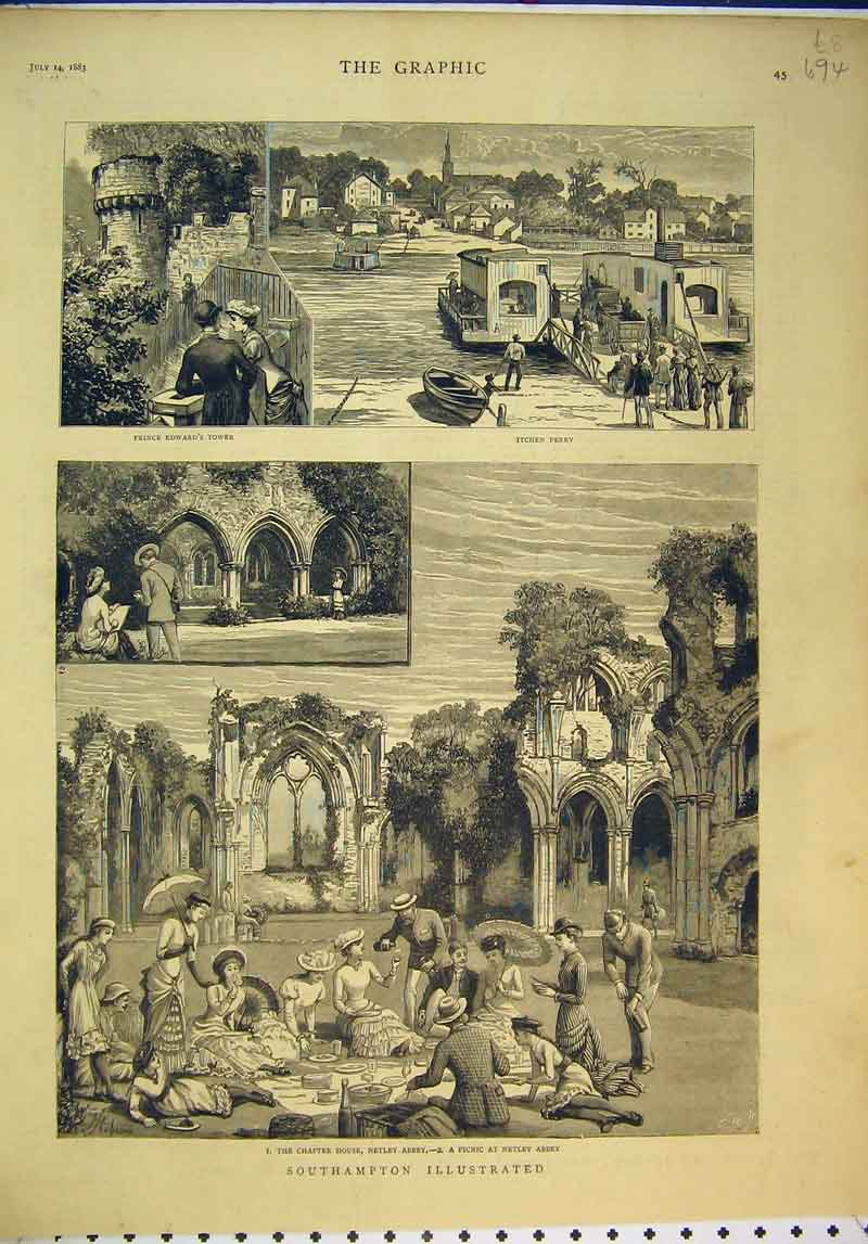 Print Southampton Prince Edward'S Tower 1883 Netley Abbey 694B345 Old Original