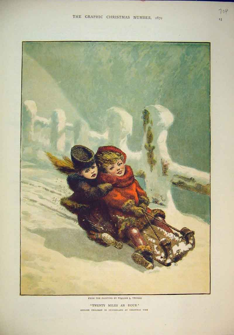 Print 1879 Colour English Children Switzerland Snow 704B345 Old Original